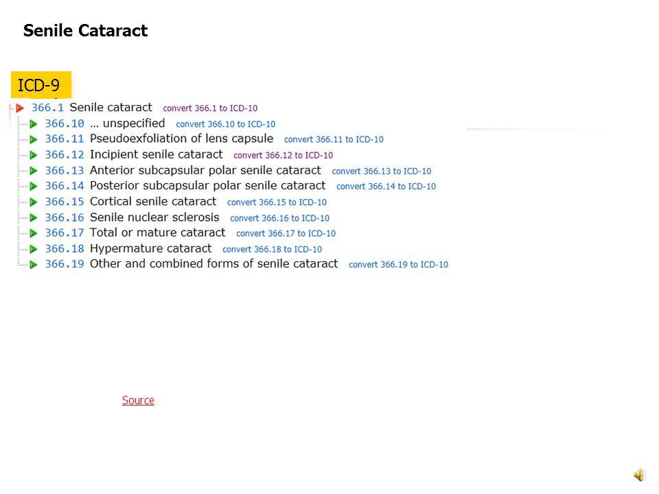 Senile Cataract ICD-9 Source