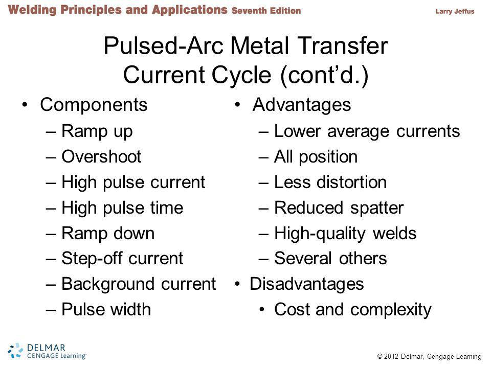 © 2012 Delmar, Cengage Learning Pulsed-Arc Metal Transfer Current Cycle (cont'd.) Components –Ramp up –Overshoot –High pulse current –High pulse time –Ramp down –Step-off current –Background current –Pulse width Advantages –Lower average currents –All position –Less distortion –Reduced spatter –High-quality welds –Several others Disadvantages Cost and complexity