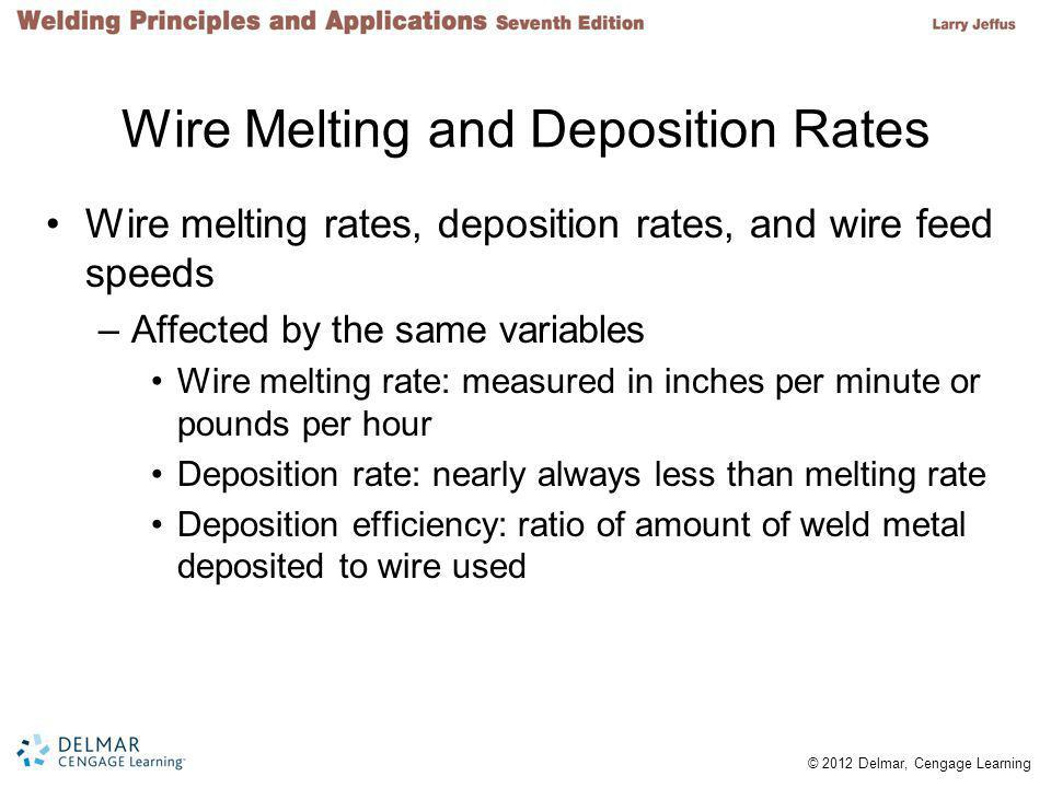 © 2012 Delmar, Cengage Learning Wire Melting and Deposition Rates Wire melting rates, deposition rates, and wire feed speeds –Affected by the same variables Wire melting rate: measured in inches per minute or pounds per hour Deposition rate: nearly always less than melting rate Deposition efficiency: ratio of amount of weld metal deposited to wire used