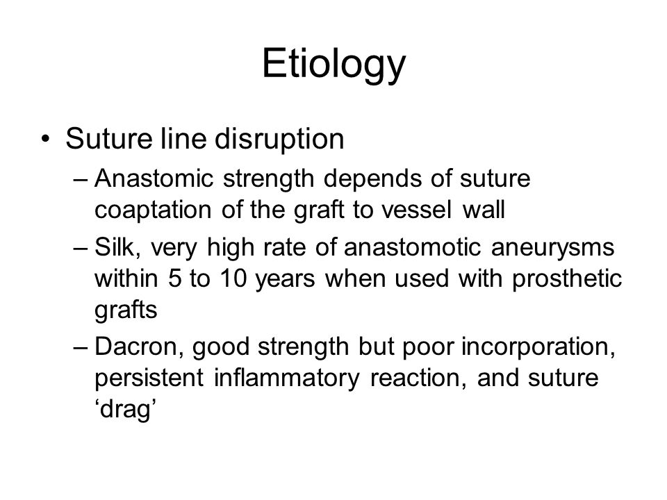 Etiology Nylon, lose significant amount of tensile strength, but readily formable to thin sutures 9-0 and 10-0, lack of brittle qualities PTFE, little inflammatory reaction, does not have same cross-sectional strength as polypropylene Polypropylene, minimally reactive, incorporates into tissue well, maintains strength over time, low coefficient of friction, resistant to bacterial films