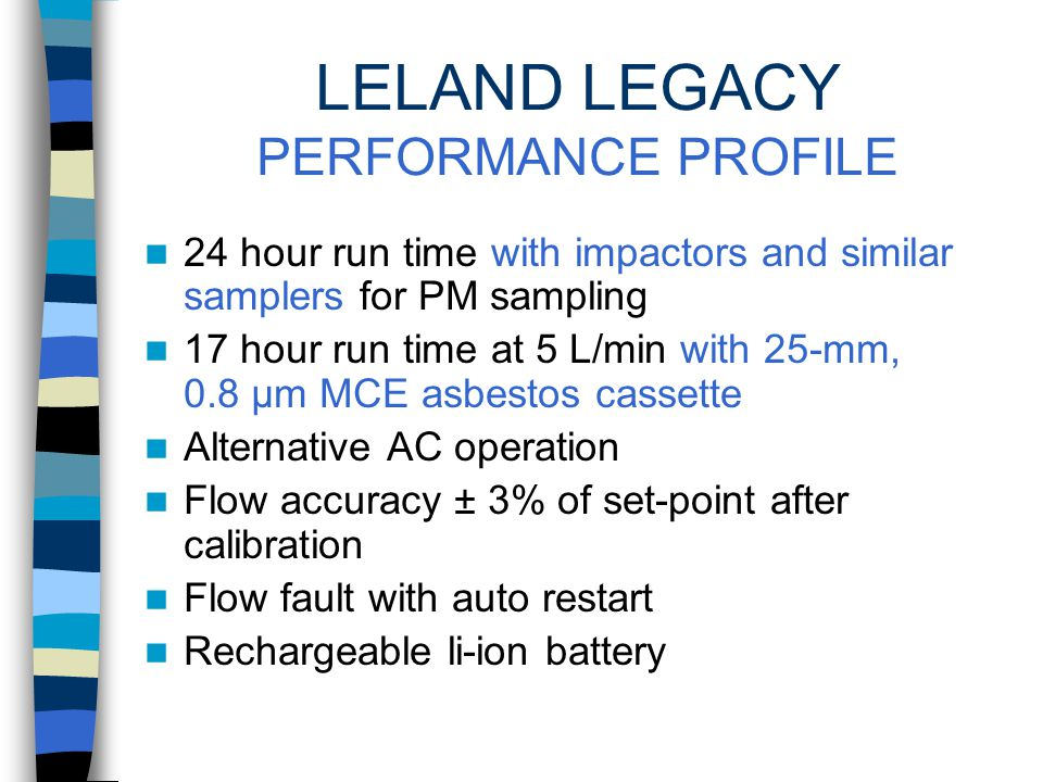LELAND LEGACY SAMPLING PUMP HIGH FLOWS Up to 15 L/min LONG RUNS Up to 24 hours FOR LOW LEVELS In indoor or ambient air SKC Cat.