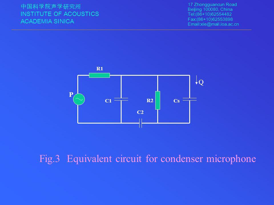 中国科学院声学研究所 INSTITUTE OF ACOUSTICS ACADEMIA SINICA 17 Zhongguancun Road Beijing 100080, China Tel:(86+10)62554482 Fax:(86+10)62553898 Email:xie@mail.ioa.ac.cn Fig.3 Equivalent circuit for condenser microphone R1 R2 C1Cs C2 P Q