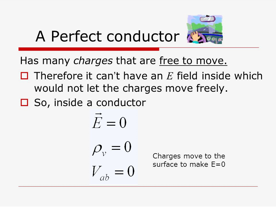 A Perfect conductor Has many charges that are free to move.