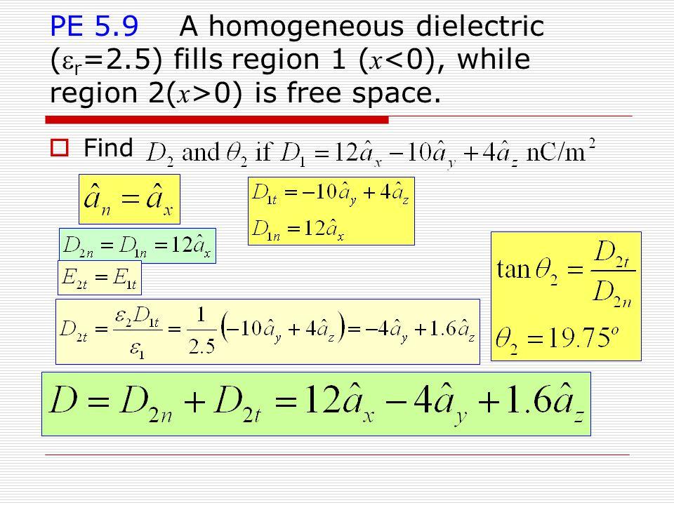 PE 5.9 A homogeneous dielectric ( r =2.5) fills region 1 ( x 0) is free space.  Find