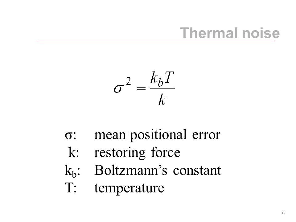 17 σ:mean positional error k: restoring force k b : Boltzmann's constant T:temperature Thermal noise