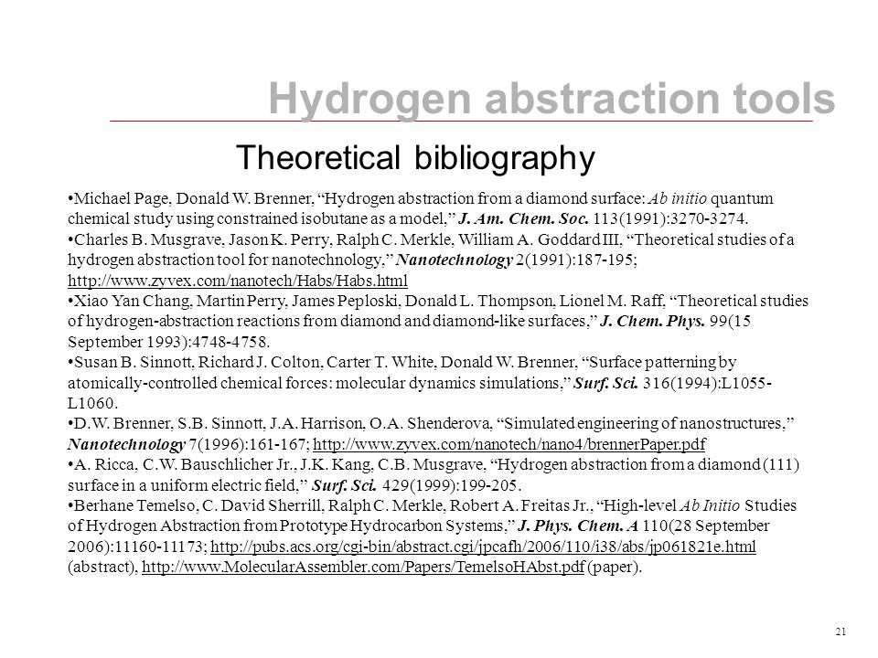 21 Hydrogen abstraction tools Michael Page, Donald W.