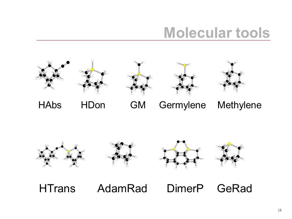 28 Molecular tools HAbs HDon GM Germylene Methylene HTrans AdamRad DimerP GeRad