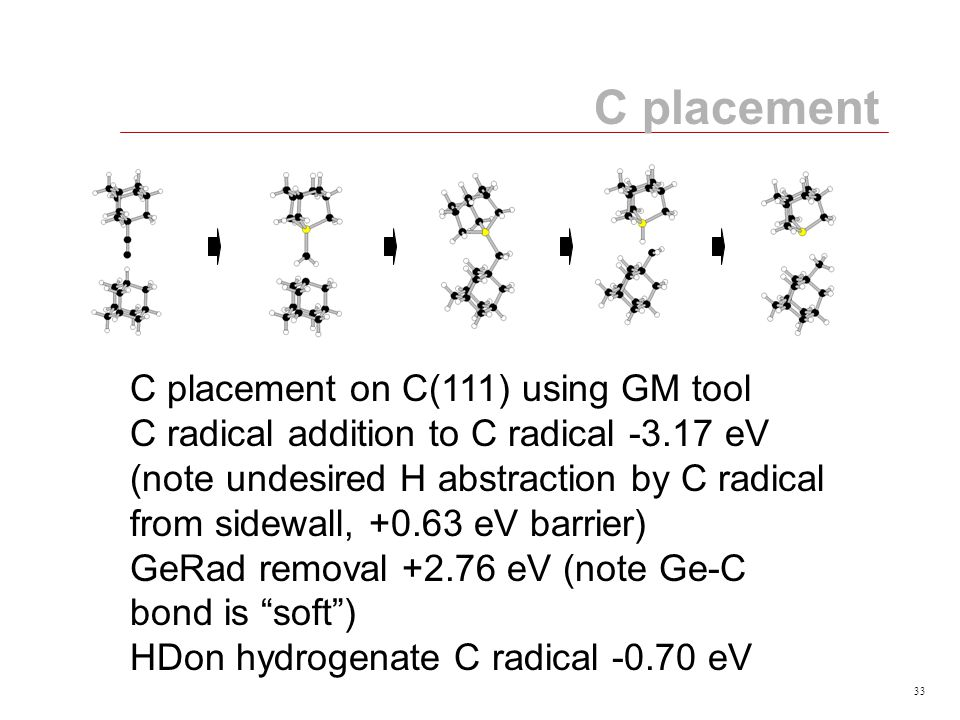 33 C placement C placement on C(111) using GM tool C radical addition to C radical -3.17 eV (note undesired H abstraction by C radical from sidewall, +0.63 eV barrier) GeRad removal +2.76 eV (note Ge-C bond is soft ) HDon hydrogenate C radical -0.70 eV