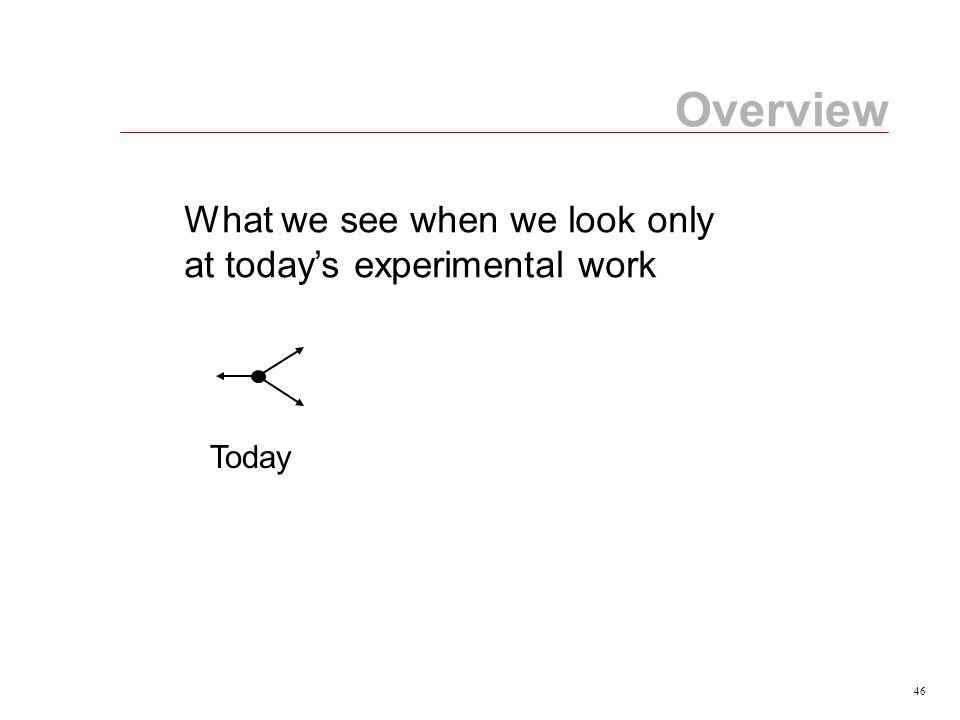 46 Today Overview What we see when we look only at today's experimental work