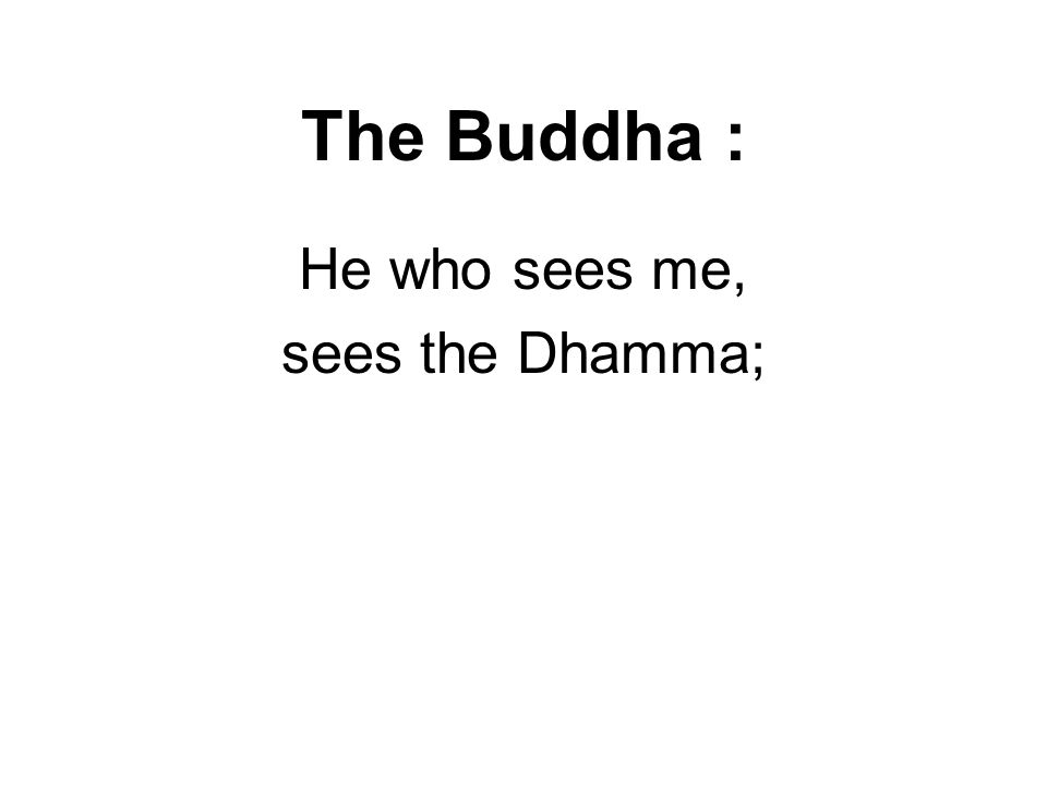 The Buddha : He who sees me, sees the Dhamma; He who sees the Dhamma, sees me. Vakkali Sutta SN 22.87