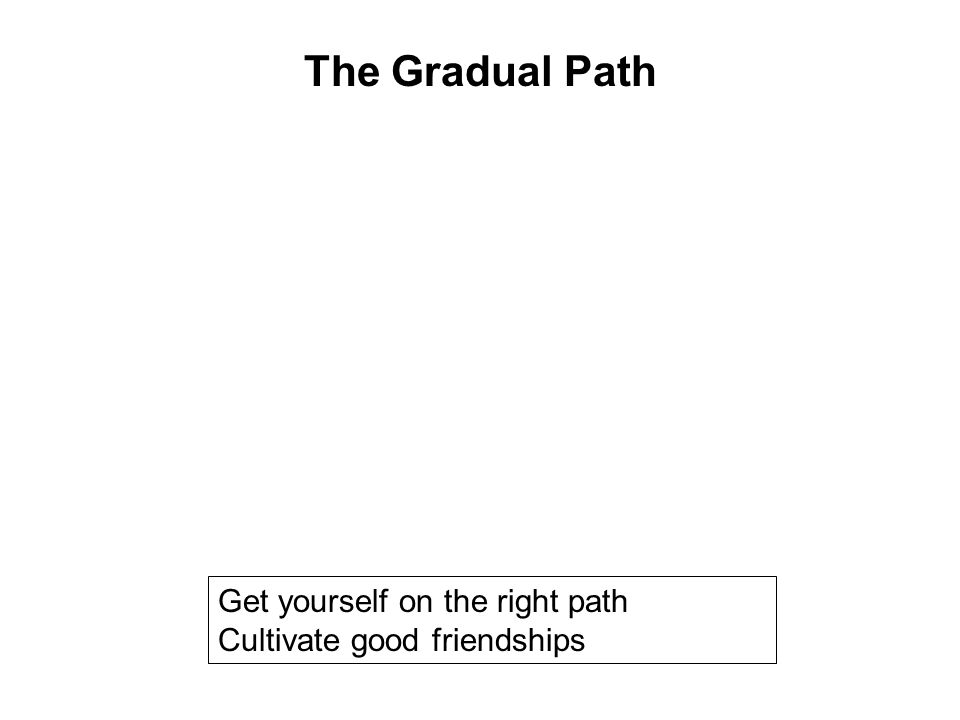 Get yourself on the right path Cultivate good friendships Follow a code of discipline Avoid wrongful occupations Help others Develop the 10 Meritoriou