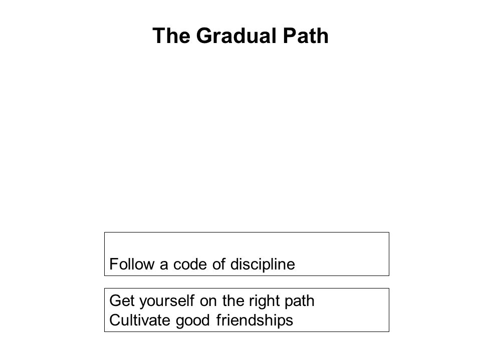 Get yourself on the right path Cultivate good friendships Avoid wrongful occupations Follow a code of discipline Help others Develop the 10 Meritorious Deeds Taking Refuge Be in touch with the Dhamma Seriously practice the 8 Fold Path Breaking the 10 Fetters The Gradual Path