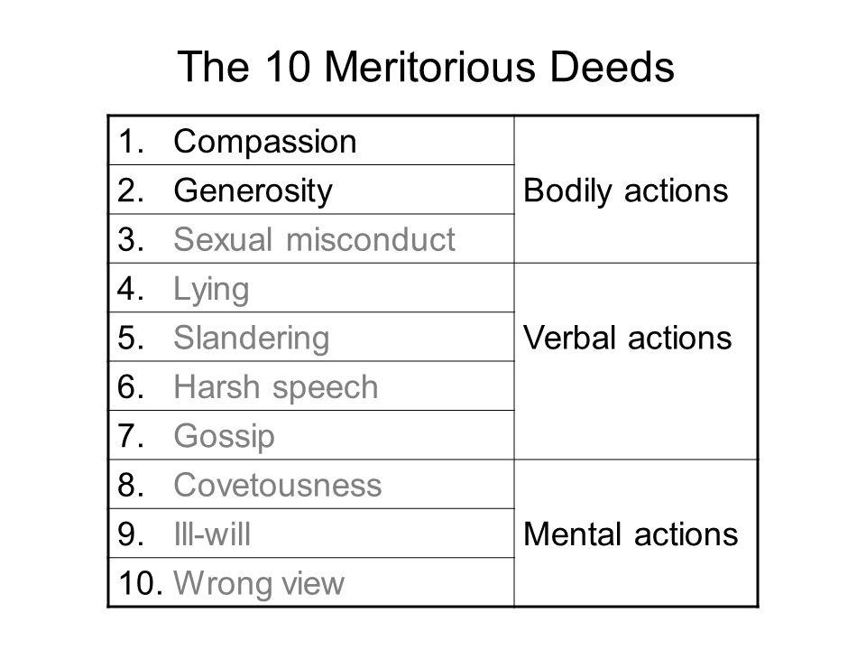 The 10 Meritorious Deeds 1. Compassion 2. GenerosityBodily actions 3. Sexual misconduct 4. Lying 5. SlanderingVerbal actions 6. Harsh speech 7. Gossip