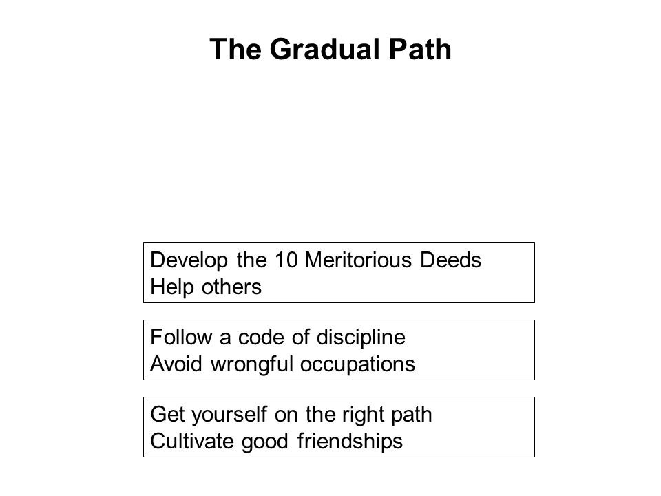 Get yourself on the right path Cultivate good friendships Follow a code of discipline Avoid wrongful occupations Develop the 10 Meritorious Deeds Help others Taking Refuge Be in touch with the Dhamma Seriously practice the 8 Fold Path Breaking the 10 Fetters The Gradual Path