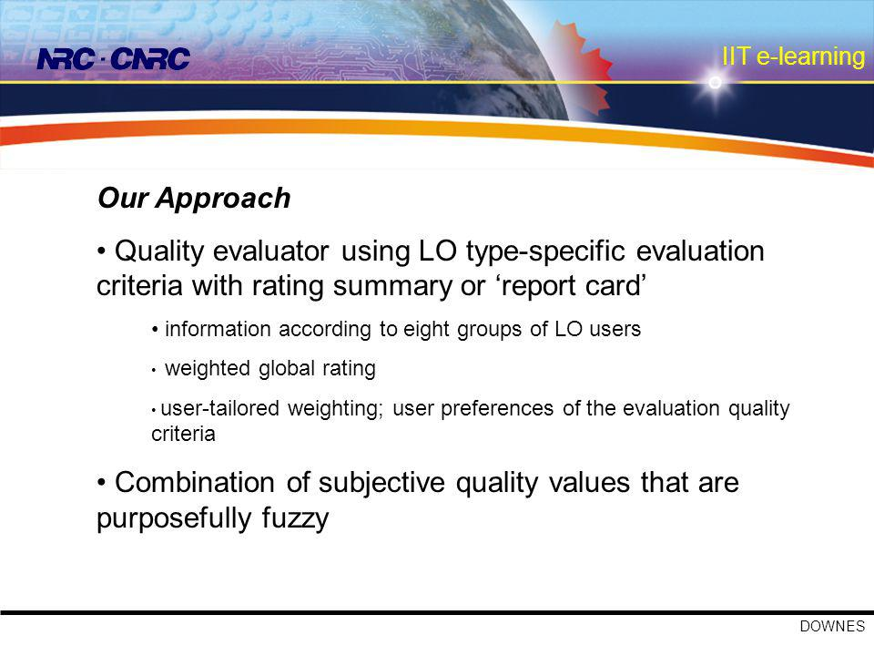 IIT e-learning DOWNES Our Approach Quality evaluator using LO type-specific evaluation criteria with rating summary or 'report card' information according to eight groups of LO users weighted global rating user-tailored weighting; user preferences of the evaluation quality criteria Combination of subjective quality values that are purposefully fuzzy
