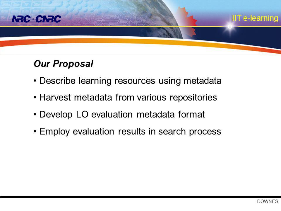IIT e-learning DOWNES Our Proposal Describe learning resources using metadata Harvest metadata from various repositories Develop LO evaluation metadata format Employ evaluation results in search process