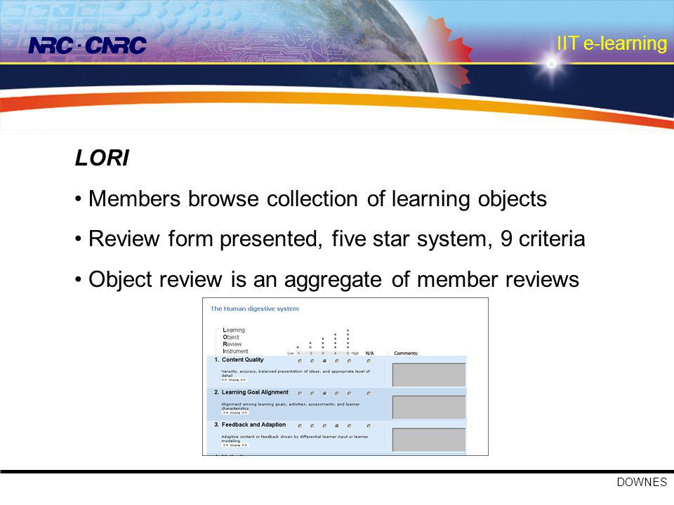 IIT e-learning DOWNES LORI Members browse collection of learning objects Review form presented, five star system, 9 criteria Object review is an aggregate of member reviews