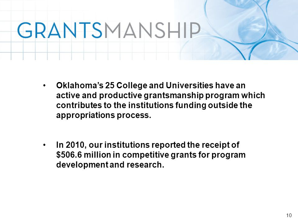 10 Oklahoma's 25 College and Universities have an active and productive grantsmanship program which contributes to the institutions funding outside the appropriations process.