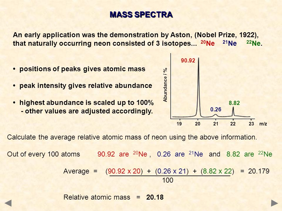 MASS SPECTRA An early application was the demonstration by Aston, (Nobel Prize, 1922), that naturally occurring neon consisted of 3 isotopes...