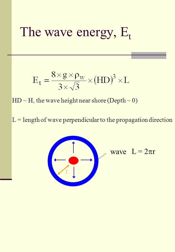 HD ~ H, the wave height near shore (Depth ~ 0) L = length of wave perpendicular to the propagation direction wave L = 2  r r The wave energy, E t