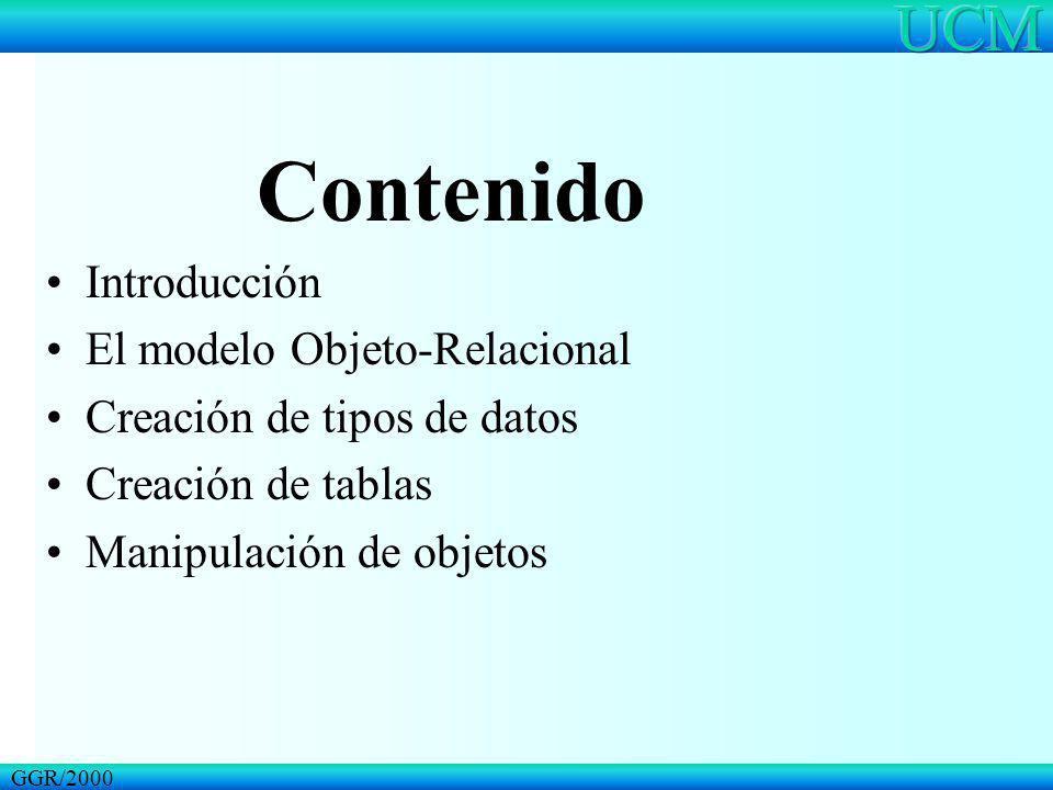 Contenido Introducción El modelo Objeto-Relacional Creación de tipos de datos Creación de tablas Manipulación de objetos GGR/2000
