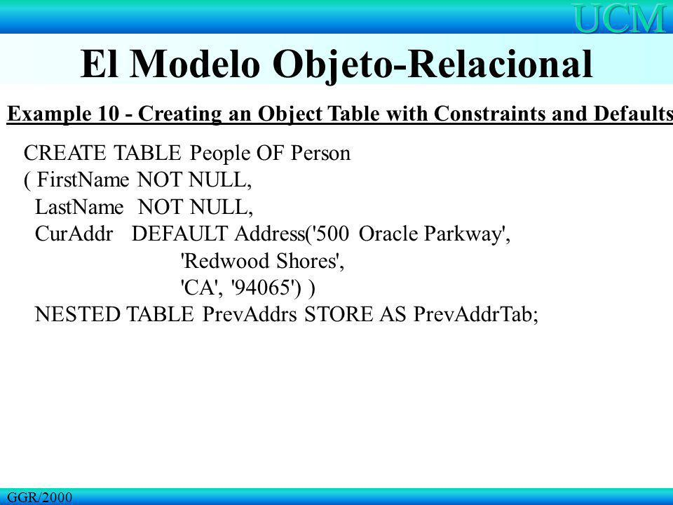El Modelo Objeto-Relacional GGR/2000 Example 10 - Creating an Object Table with Constraints and Defaults CREATE TABLE People OF Person ( FirstName NOT