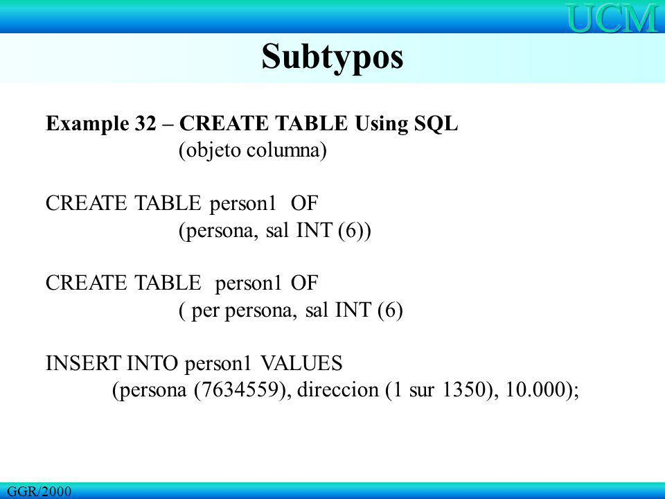 Subtypos GGR/2000 Example 32 – CREATE TABLE Using SQL (objeto columna) CREATE TABLE person1 OF (persona, sal INT (6)) CREATE TABLE person1 OF ( per pe