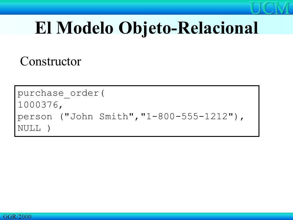 El Modelo Objeto-Relacional GGR/2000 purchase_order( 1000376, person ( John Smith , 1-800-555-1212 ), NULL ) Constructor