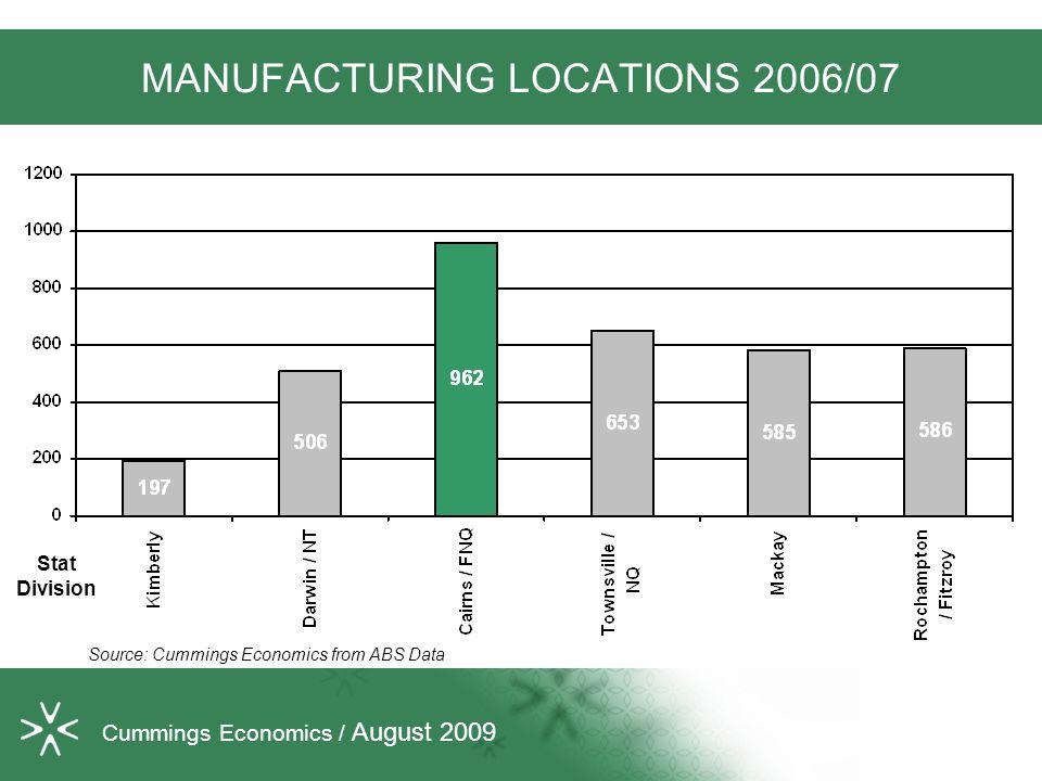 MANUFACTURING LOCATIONS 2006/07 Source: Cummings Economics from ABS Data Cummings Economics / August 2009 Stat Division