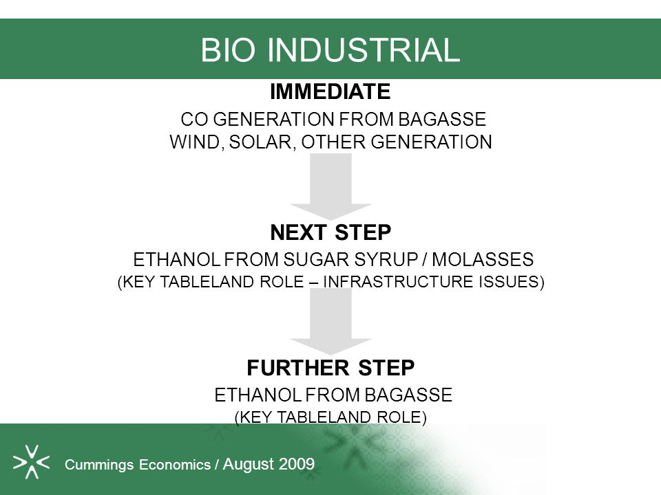 BIO INDUSTRIAL IMMEDIATE CO GENERATION FROM BAGASSE WIND, SOLAR, OTHER GENERATION NEXT STEP ETHANOL FROM SUGAR SYRUP / MOLASSES (KEY TABLELAND ROLE – INFRASTRUCTURE ISSUES) FURTHER STEP ETHANOL FROM BAGASSE (KEY TABLELAND ROLE) Cummings Economics / August 2009
