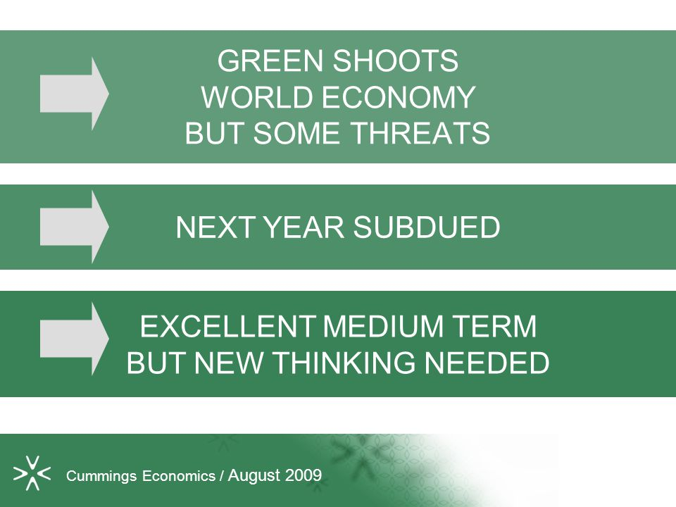 GREEN SHOOTS WORLD ECONOMY BUT SOME THREATS Cummings Economics / August 2009 NEXT YEAR SUBDUED EXCELLENT MEDIUM TERM BUT NEW THINKING NEEDED