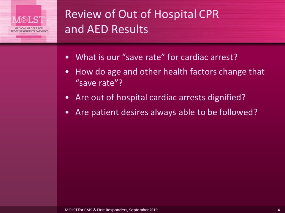 4 Review of Out of Hospital CPR and AED Results What is our save rate for cardiac arrest.