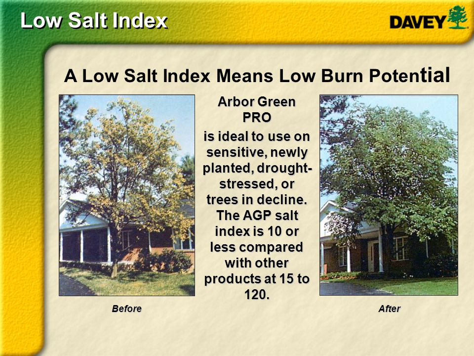 Arbor Green PRO is ideal to use on sensitive, newly planted, drought- stressed, or trees in decline. The AGP salt index is 10 or less compared with ot