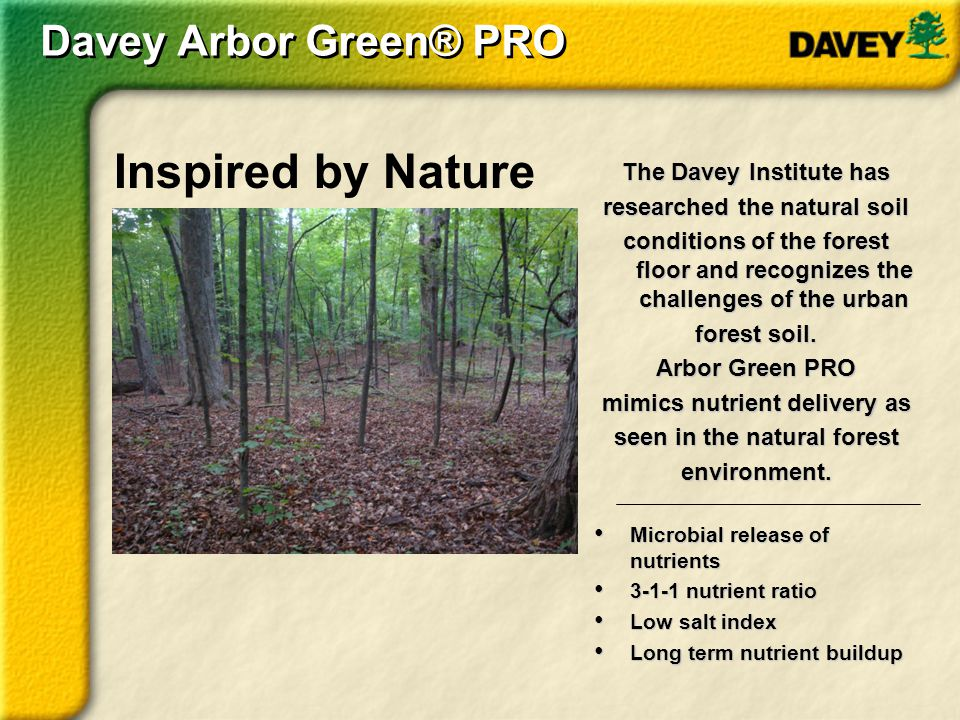 Backed by Davey Arbor Green PRO was created, developed, and patented by scientists at The Davey Institute who are committed to innovation and environmental stewardship.