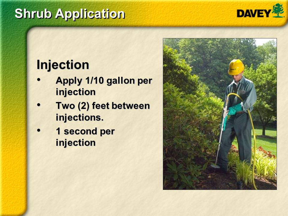 Injection Apply 1/10 gallon per injection Apply 1/10 gallon per injection Two (2) feet between injections. Two (2) feet between injections. 1 second p