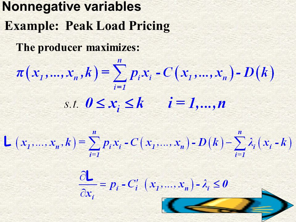 10 Nonnegative variables Example: Peak Load Pricing The producer maximizes: