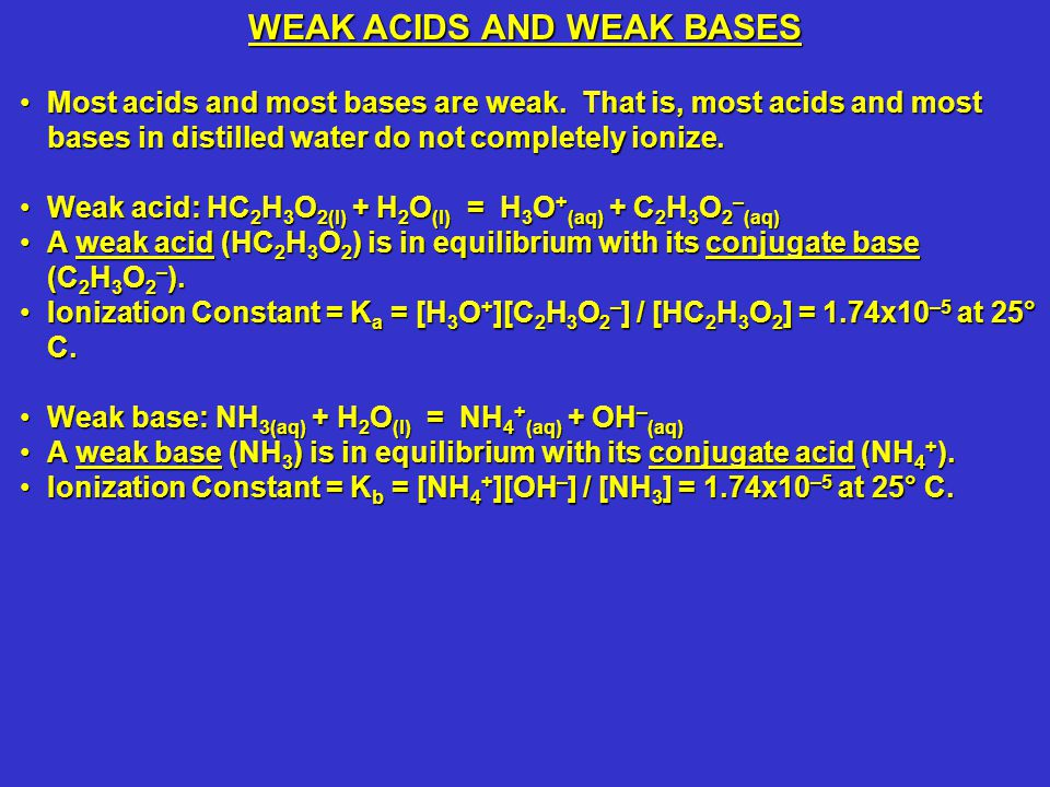 Most acids and most bases are weak.