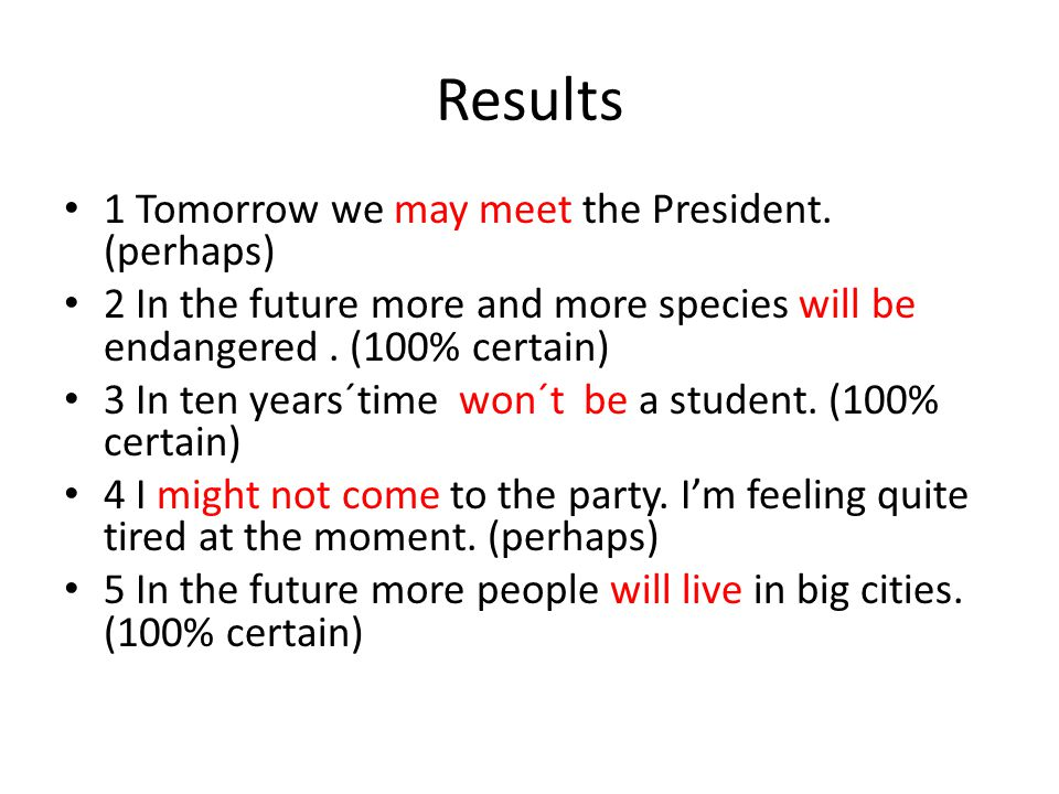 Results 1 Tomorrow we may meet the President. (perhaps) 2 In the future more and more species will be endangered. (100% certain) 3 In ten years´time w