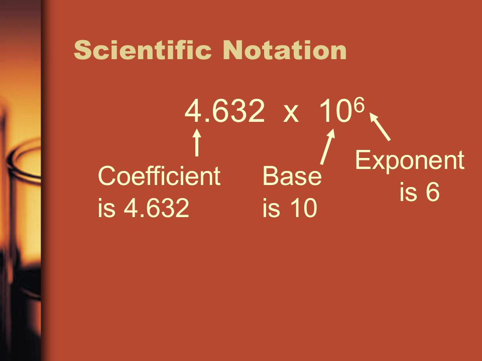 4.632 x 10 6 Coefficient is 4.632 Base is 10 Exponent is 6
