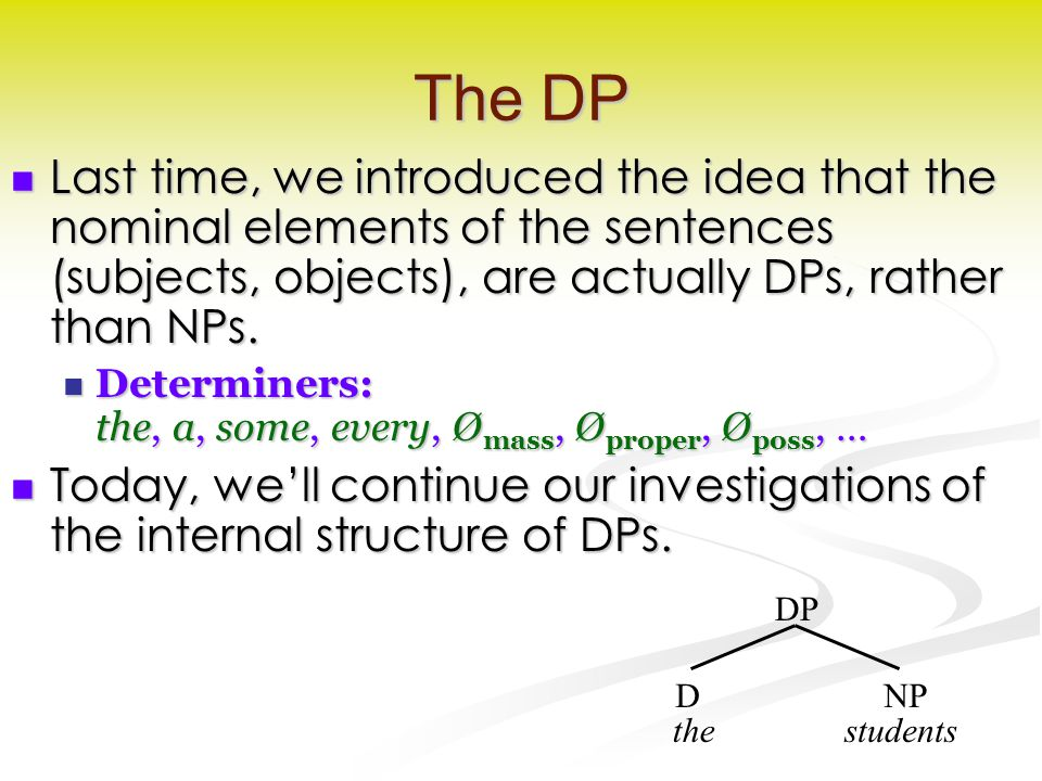 The DP Last time, we introduced the idea that the nominal elements of the sentences (subjects, objects), are actually DPs, rather than NPs.