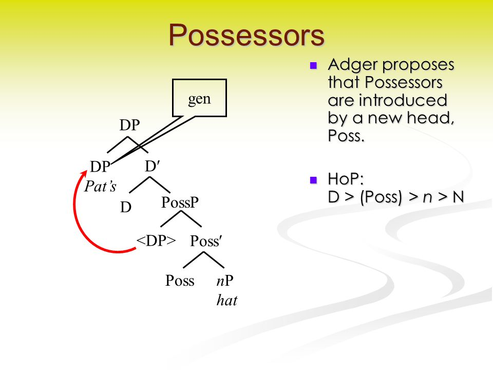 Possessors Adger proposes that Possessors are introduced by a new head, Poss.