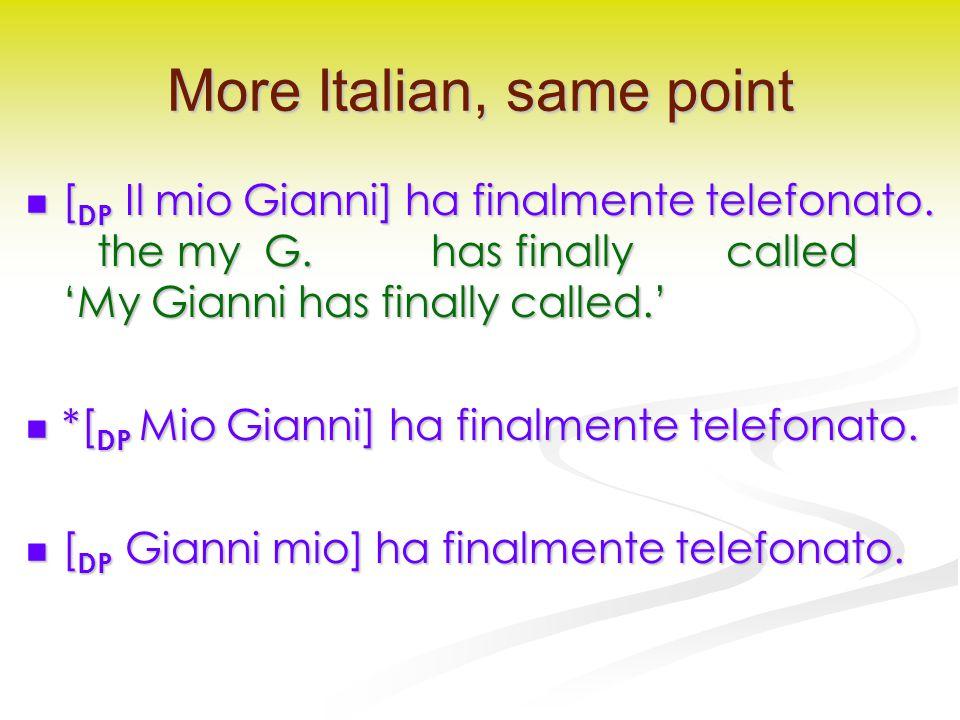 More Italian, same point [ DP Il mio Gianni] ha finalmente telefonato.