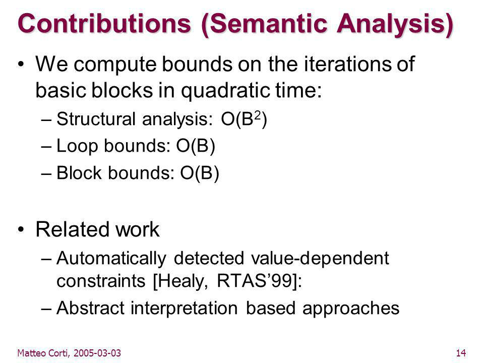Matteo Corti, 2005-03-0314 Contributions (Semantic Analysis) We compute bounds on the iterations of basic blocks in quadratic time: –Structural analysis: O(B 2 ) –Loop bounds: O(B) –Block bounds: O(B) Related work –Automatically detected value-dependent constraints [Healy, RTAS'99]: –Abstract interpretation based approaches