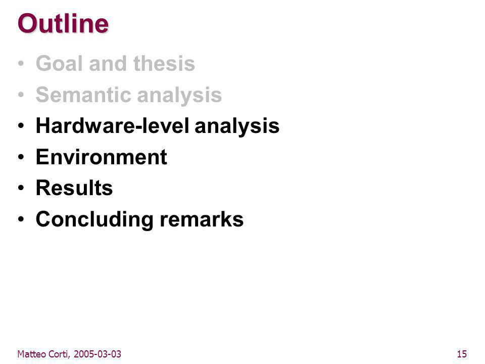 Matteo Corti, 2005-03-0315 Outline Goal and thesis Semantic analysis Hardware-level analysis Environment Results Concluding remarks