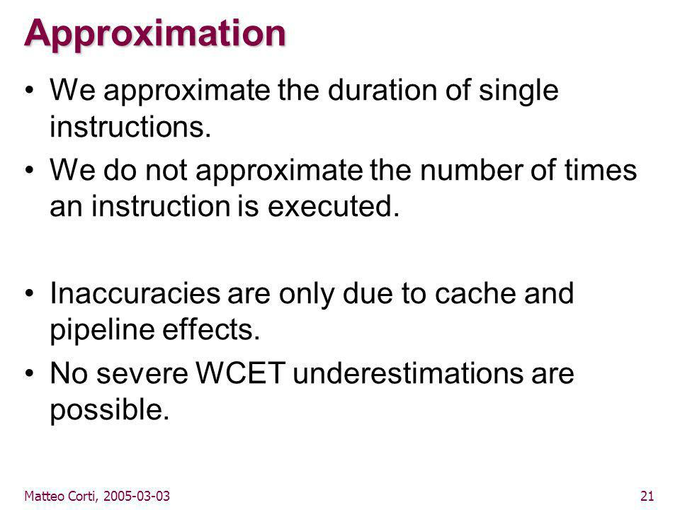 Matteo Corti, 2005-03-0321 Approximation We approximate the duration of single instructions.