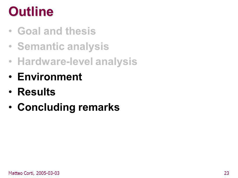 Matteo Corti, 2005-03-0323 Outline Goal and thesis Semantic analysis Hardware-level analysis Environment Results Concluding remarks