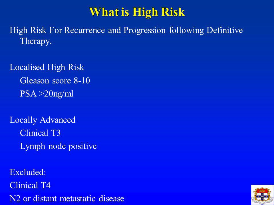 What is High Risk High Risk For Recurrence and Progression following Definitive Therapy.