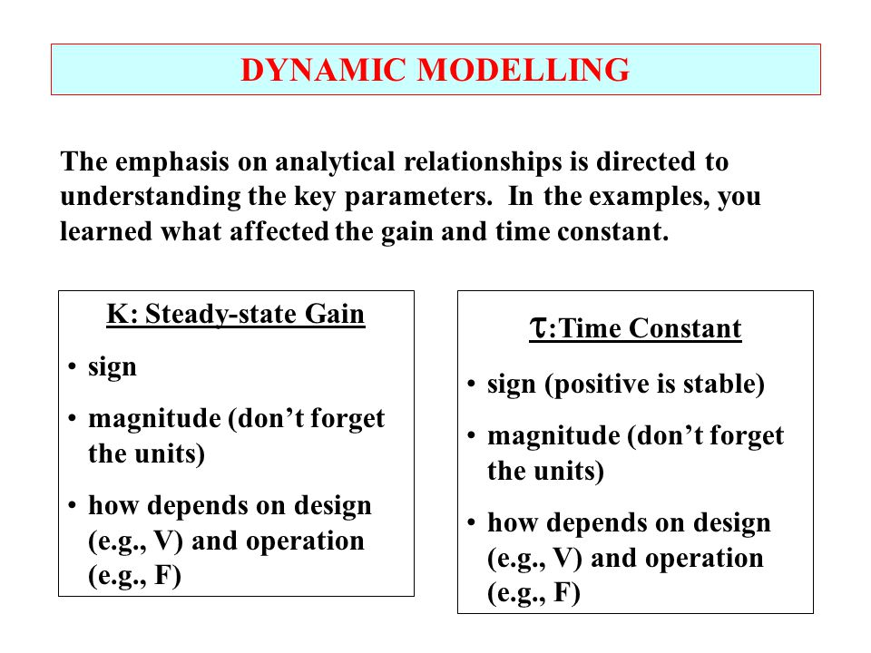 DYNAMIC MODELLING The emphasis on analytical relationships is directed to understanding the key parameters. In the examples, you learned what affected