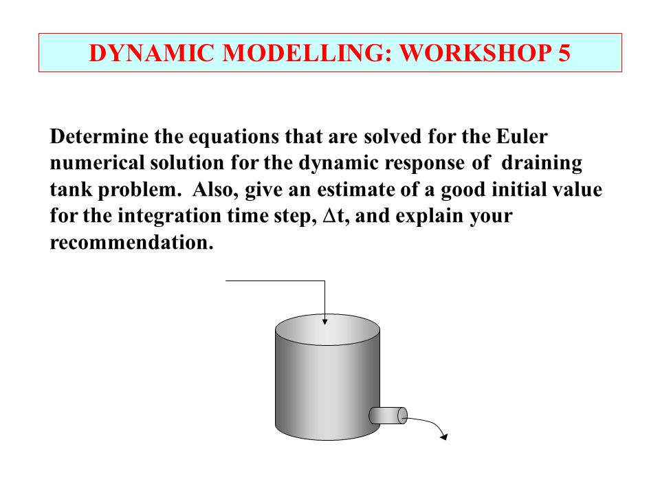 DYNAMIC MODELLING: WORKSHOP 5 Determine the equations that are solved for the Euler numerical solution for the dynamic response of draining tank probl