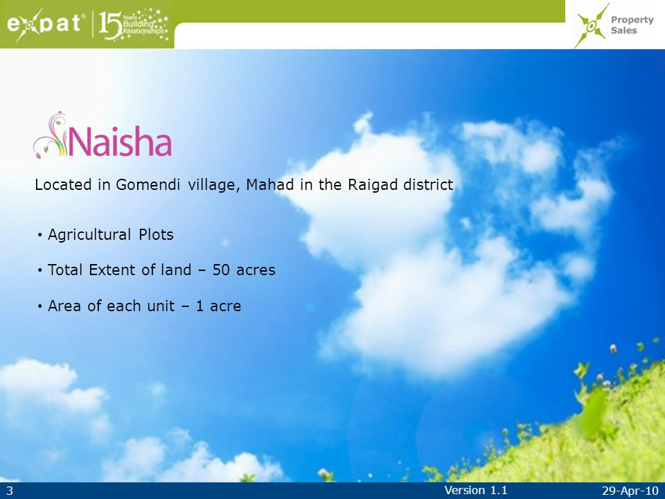329-Apr-10 Version 1.1 Located in Gomendi village, Mahad in the Raigad district Agricultural Plots Total Extent of land – 50 acres Area of each unit – 1 acre